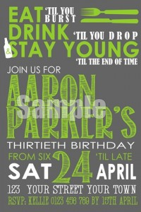 Eat, drink and stay young invitation green