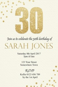 Gold glitter invitation