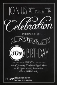 celebrate black and white invitation