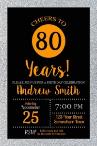 age birthday silver and orange invitation