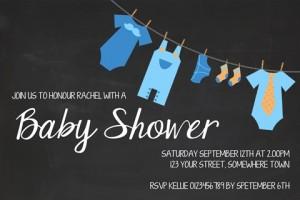 Boys clothesline baby shower invitation