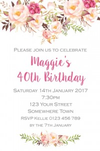 pink foral invitation