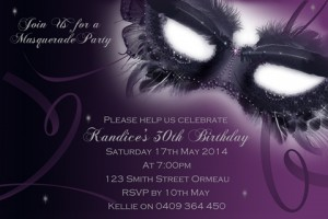 purple Masquerade Invitation