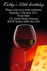 Red wine and cheese invite