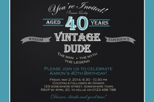 male vintage 40th birthday invite