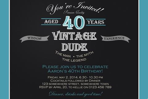 Male Vintage 40th Birthday Invite