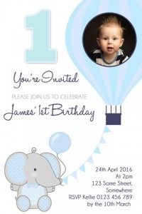Boys 1st birthday, boys first birthday invitation, invite, elephant invitation, hotair balloon invitation