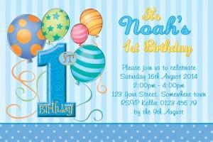 Boys 1st birthday invite, Boys 1st birthday invitation, boys blue balloon invitation