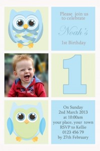 Boys first birthday invitation owls