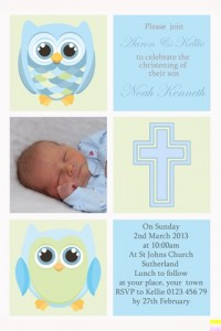 Boys owl christening baptism invitation