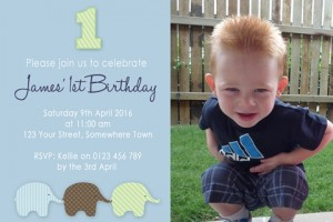 boys first birthday invitation, boys 1st birthday, elephant invitation