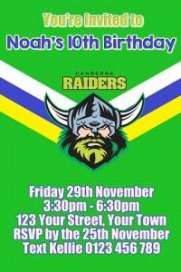 Canberra Raiders NRL football invitation