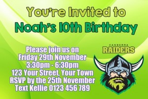 Canberra Raiders NRL football invite