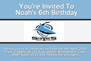Cronulla Sutherland Sharks NRL football invitation