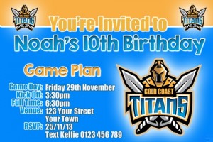 Gold Coast Titans NRL football invitation