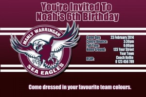 Manly NRL football invitations