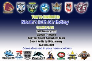 NRL themed football invitation