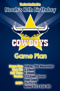 North Queensland Cowboys NRL football invitation