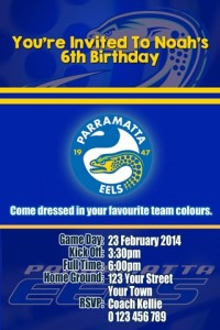 Parramatta Eels NRL football invitation