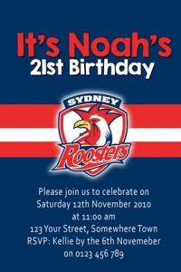 Sydney Roosters football NRL invitation