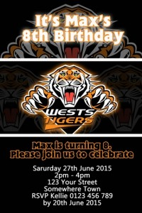 West Tigers NRL football invitation